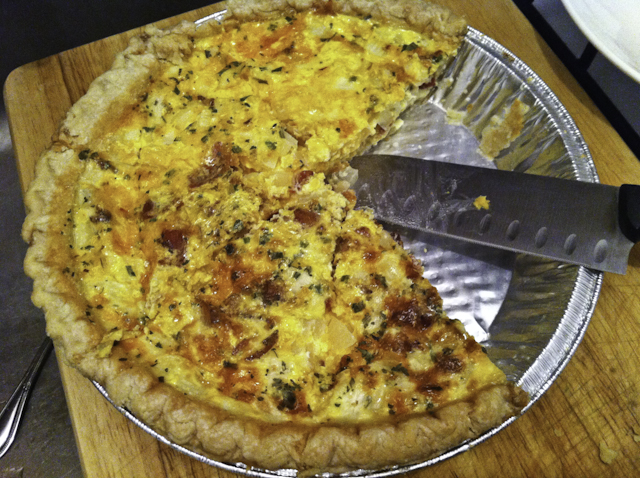 Caramelized Onion Bacon and Cheese Quiche