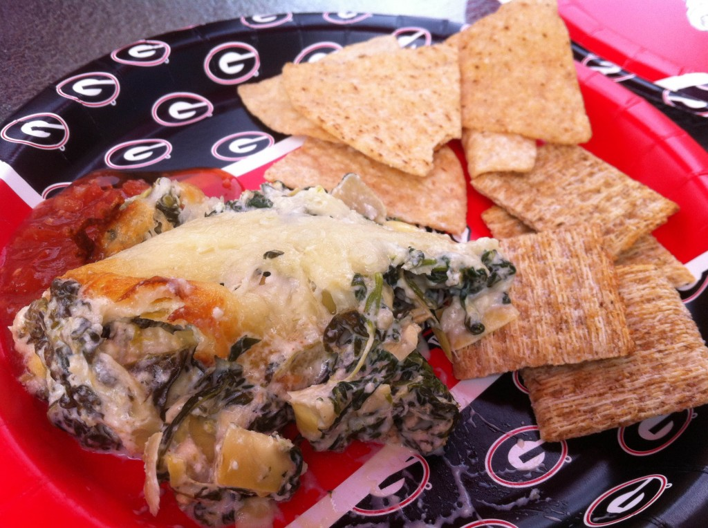 Game Day Spinach and Artichoke Garlic Cheese Dip