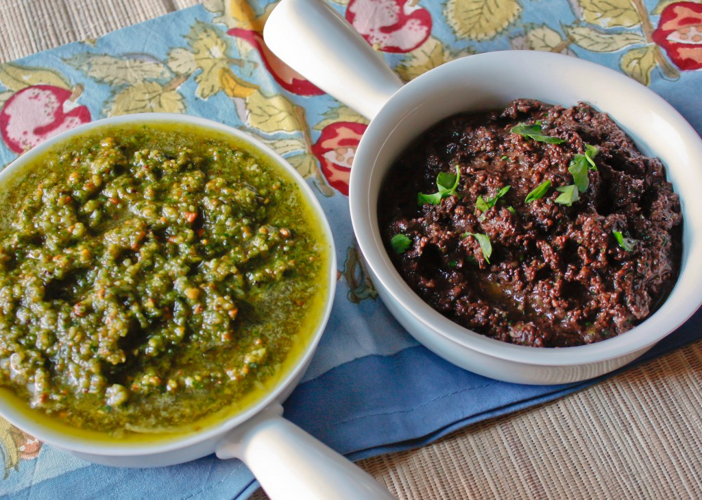 Parsley Pesto and Olive Tapenade
