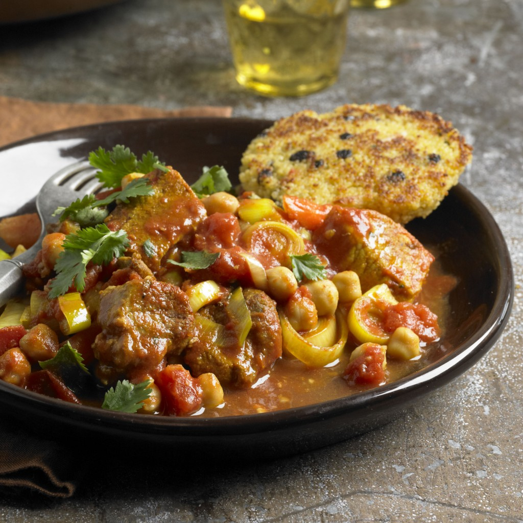 Moroccan-Inspired Country-Style Rib Ragu with Couscous Cakes