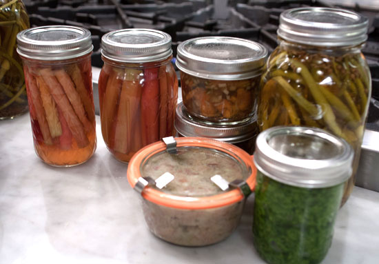 Pickled Canned Veggies & Pesto