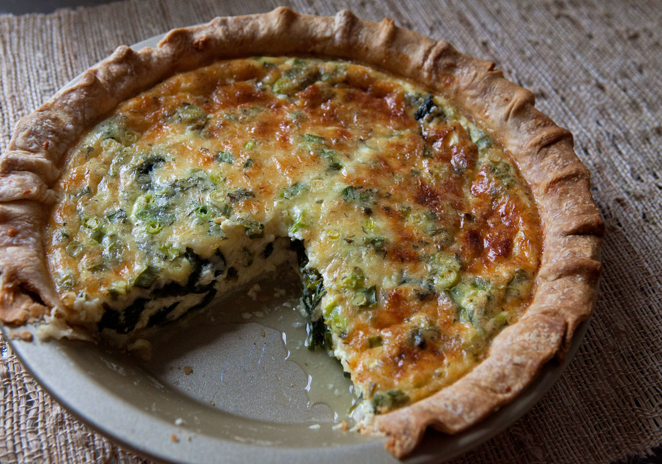 Spinach, Cheese & Green Onion Pie with Dill and Fines Herbes - The ...