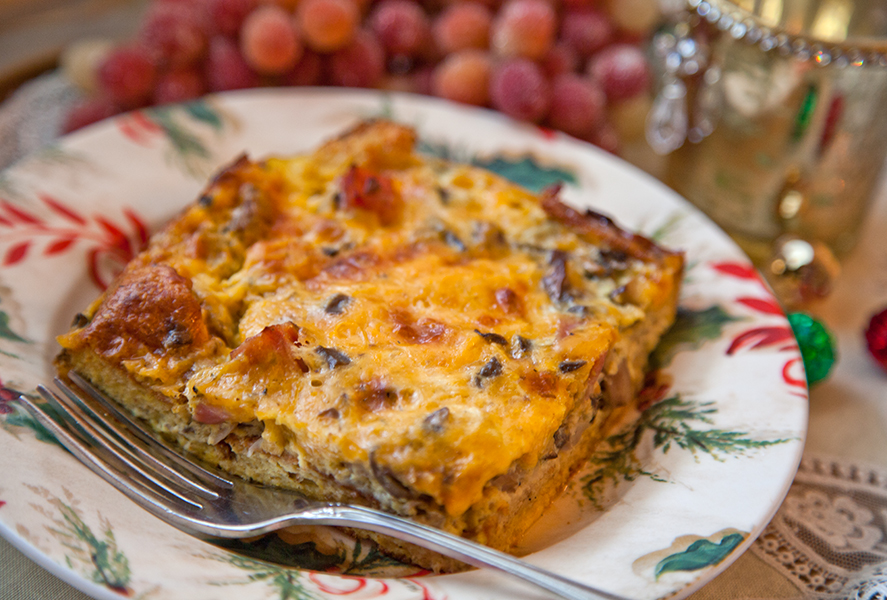 Mushroom, Ham and Cheese Strata
