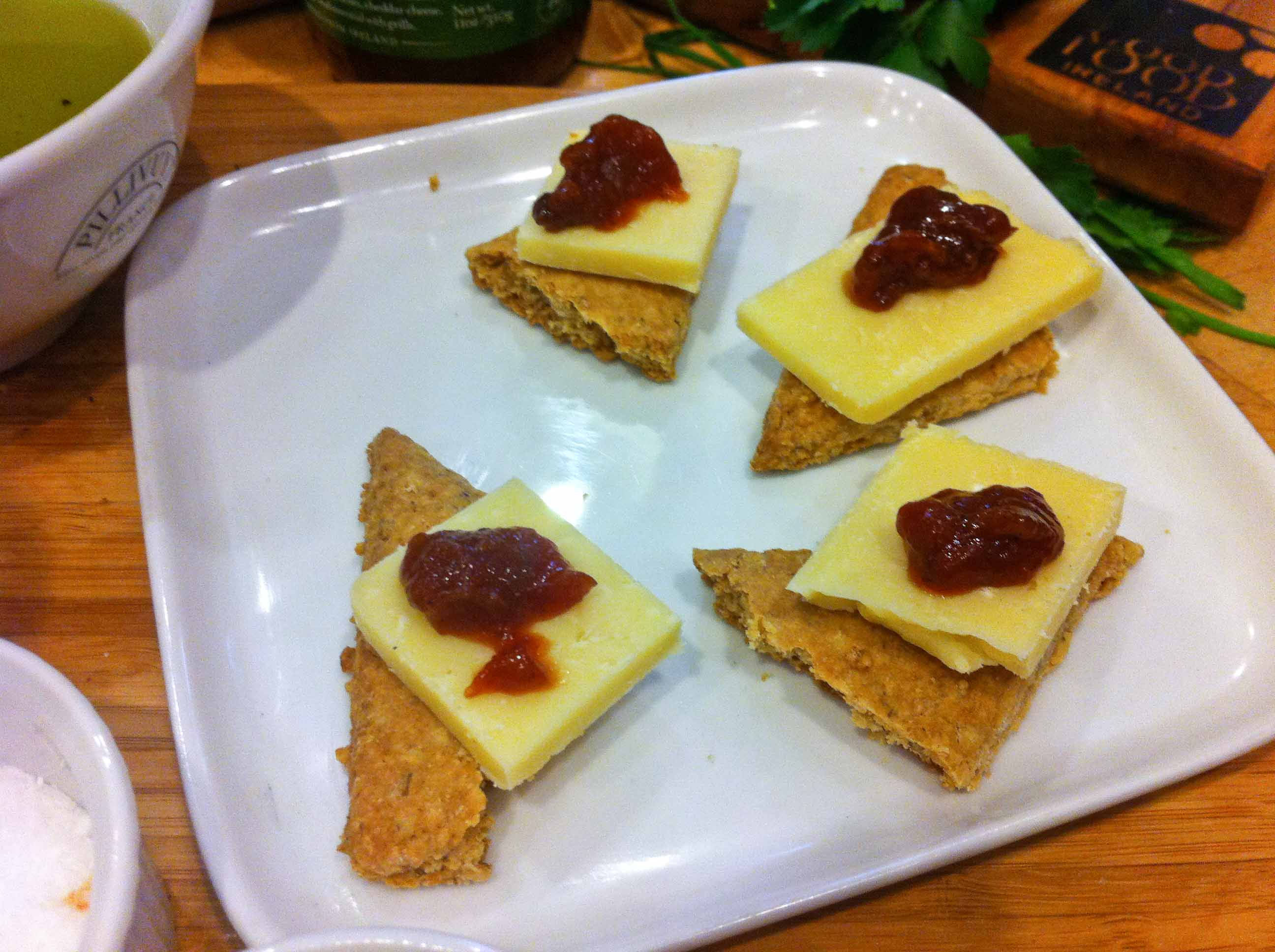Dubliner Irish Cheese & Ballymaloe Relish on Oatcakes