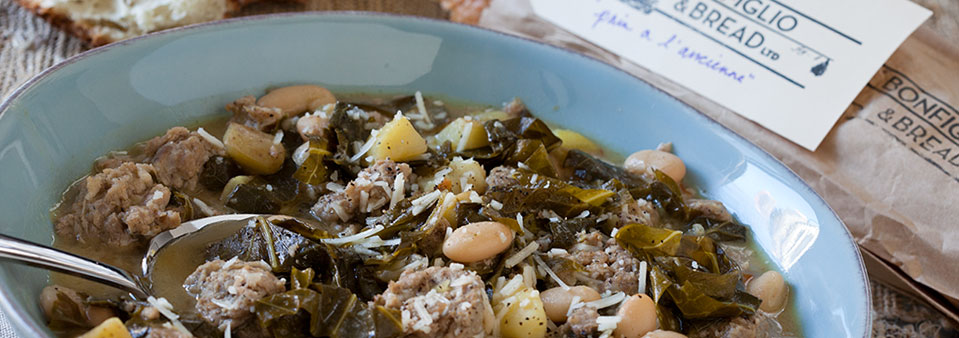 Garlicky Greens and Beans with Sausage