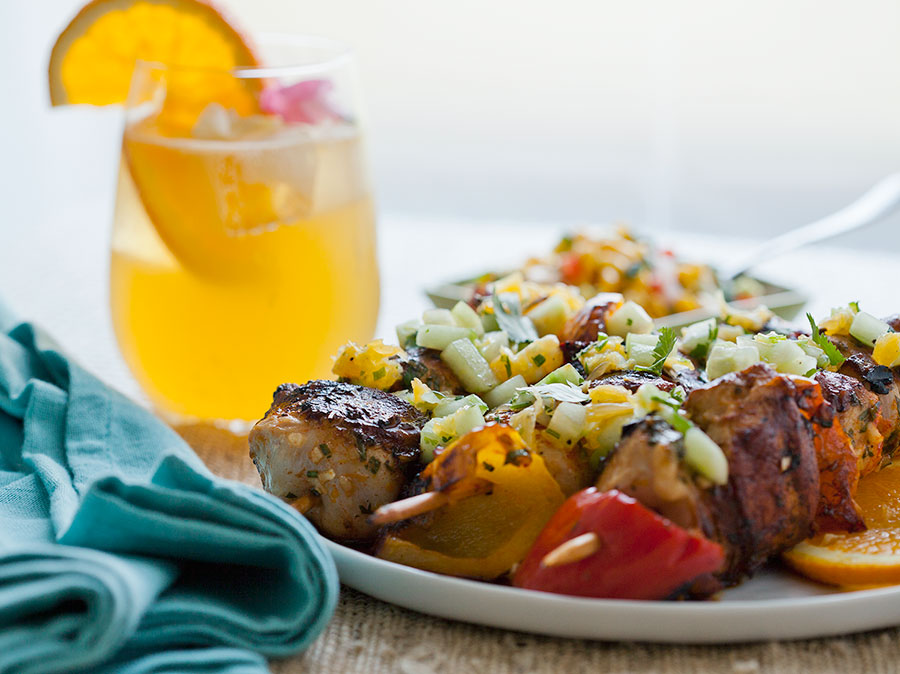 Grilled Honey Orange Chicken Skewers with Cucumber Orange Cilantro Salsa