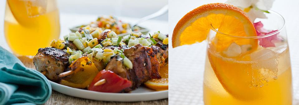 Celebrating Memorial Day with Stoli Vodka! Grilled Honey Orange Chicken Skewers w/ Cucumber-Orange-Cilantro Salsa | Honey Orange Blossom Cocktails