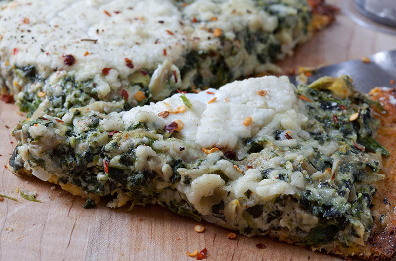 Spinach Artichoke Ricotta Pizza with Parmesan Garlic Cauliflower Crust ...