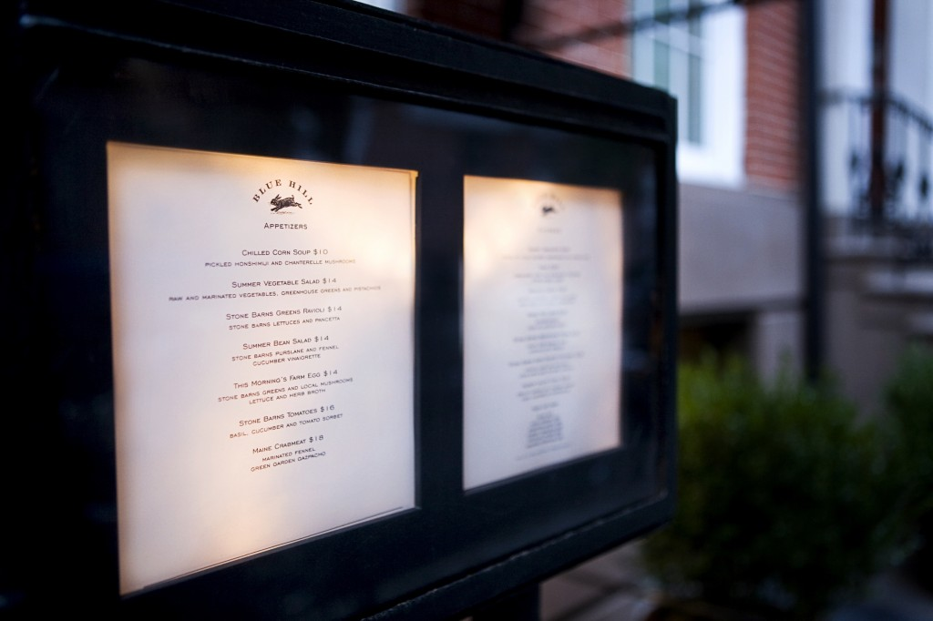 Blue Hill New York Outside Menu