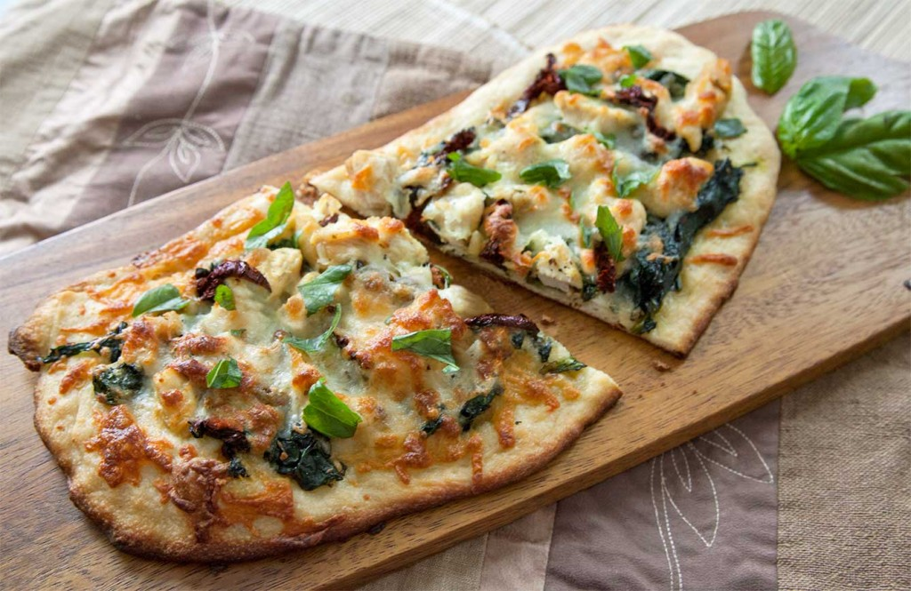 Sauteed Chicken, Garlic, Spinach & Sundried Tomato Pizza