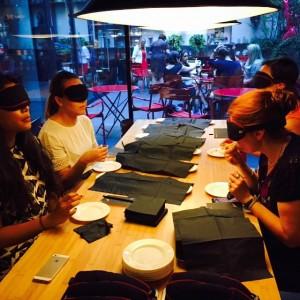 And my DineintheDarkNYC event has begun! food bloggers blind tastinghellip