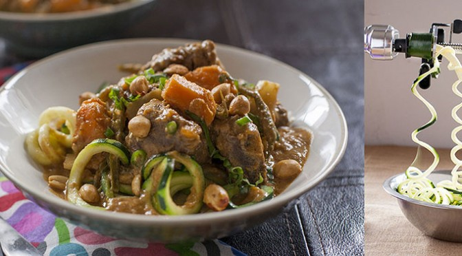 Red Beef Curry with Zucchini Noodles