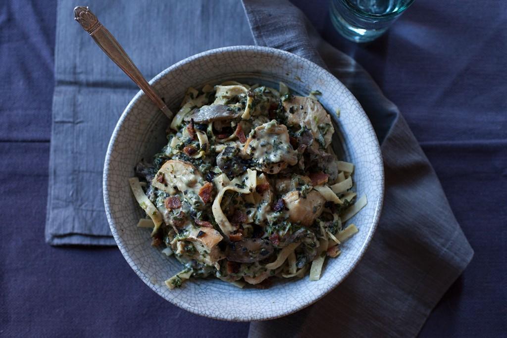 Chicken Mushroom Spinach Fettuccine
