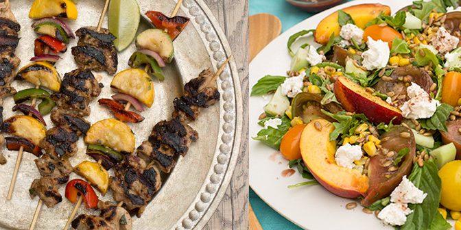 Elderberry Lime Chicken & Veggie Kabobs + Heirloom Tomato, Peach & Mozzarella Salad