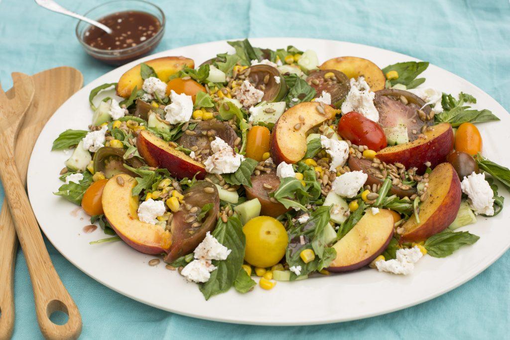 Heirloom Tomato Peach Mozzarella Salad