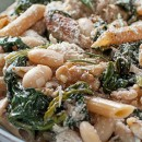 Lemony Rosemary Chicken Pasta with Greens and Beans, Ricotta & Toasted Walnuts