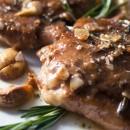 Sunday Supper: Pan-Roasted Chicken w/ Rosemary & Caramelized Garlic   Roasted Lemon Asparagus Almondine
