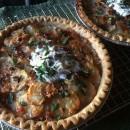 Pie Party GE Potluck & a Potato, Bacon & Gruyere Pie w/ Shallots, Creme Fraiche & Fresh Herbs